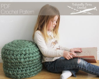 Crochet Pattern: The Caldecott Cushion one size extreme crochet poof ottoman stool