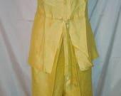 "MEMORIAL DAY SALE 70s Mod Lemon Yellow Silk Resort Pantsuit Set-36"" Bust-Small-Size 4-Slim Pant-Drawstring Top-Party-Cruise-Club-Jackie o"