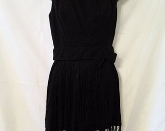 """BIG CLEARANCE SALE Hippest Little Black Dress-70s Mod Cocktail Party Mini-Flapper Fringe-Size 2-Small-34"""" Bust-Holiday Resort Cruise Club-Ho"""