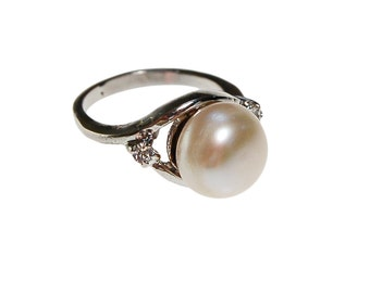 Pearl Ring, CZ Accents, Silver Setting, Ring Size 4