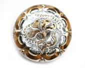 27mm Silver and Gold Czech Glass Button, Golden Floral ornament, Handmade Button bead, size 12, 1pc - 2571