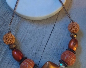 Orange and Copper Chunky Beaded Necklace