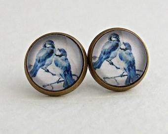 Blue Bird Earrings .. blue white earrings, bird studs, nature, small bird studs