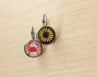 Maryland Crab & Black-Eyed Susan Drop Earrings