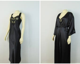 Vintage Nightgown & Dressing Gown Robe Set 70s Barbizon Black Satin Nightgown and Belted Robe Lace Accens Size Large