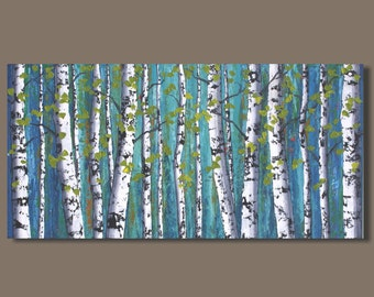 FREE SHIP large abstract painting of white birch, tree painting, forest painting landscape painting, birch tree art, contemporary art,18x36