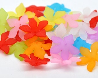 20 Frosted Acrylic Beads Lucite Lily Flower  28mm x 7mm
