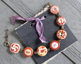Antique China Stencil Button Bracelet, 1800s, porcelain, vintage, orange, assemblage, jewelry recycled, repurposed children's long underwear