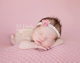 Pink Flower HEadband...Flower Headband...Dainty Flower...Newborn Photography Prop...Pink Flower...Newborn...Headband
