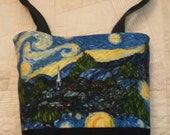 Starry Night bag, art bag, knitting project bag, lunch bag, tote, fully lined, Starry Night print, knit, yellow star lining