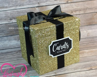 Card Box Glitter Gold & Black Gift Money Box for Any Event | Baby Shower | Wedding | Bridal Shower | Birthday Party | Graduation