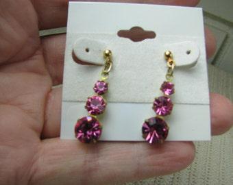 Vtg pink rhinestone Art Deco drop earrings on GP studs