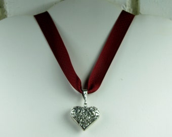Large sterling heart on red , black ribbon and black bead necklace