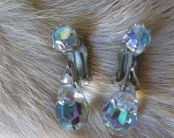 Crystal Clip Earrings Teardrop Vintage Crystal AB Teardrop earrings clip silvertone Dangle Earrings
