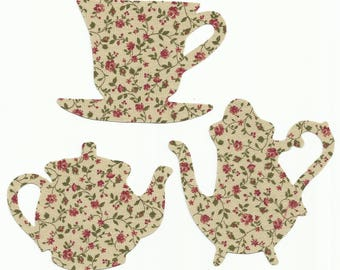 Floral/Calico Teacup & Teapots Set Fabric Iron On Appliques ~ 5 Color Options