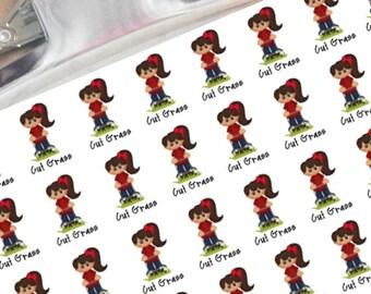 cut grass girl planner stickers