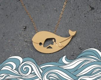Jonah and the Whale Necklace , Bible Stories Jewelry , Whale Pendant , Whale Jewelry, Jerusalem Souvenir, Christian Gifts, Religious Jewelry