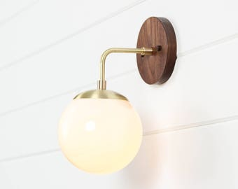 Mid century modern globe sconce  brass sconce  wall lamp  Carolina SconceContemporary Handcrafted Lighting  UL Listed  by WorleysLighting. Handcrafted Lighting Australia. Home Design Ideas