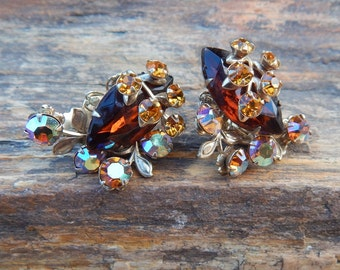 Amber Rhinestone Clip On Earrings  ~  Amber and Aurora Borealis Rhinestone Clip On Earrings  ~  Amber Rhinestone Earrings with FREE Bracelet