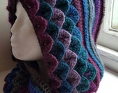 Handmade hooded cowl , scarf , snood in dragon scale Stitch made in Wales uk
