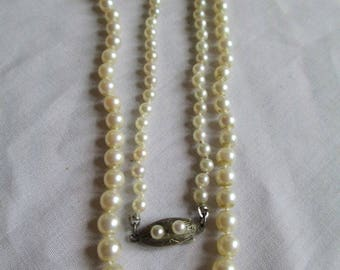 """Vintage Cultured Pearl Necklace Graduated W/ Ornate Sterling Clasp with Pearls 20"""" Necklace Fish Hook Clasp So Elegant Vintagelady7"""