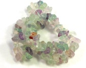 Rainbow Fluorite Stone Chip Beads, Full Strand, Rainbow Colors, Green Pink Purple Clear Yellow, Craft Beading, Jewelry Making, Supply Beads