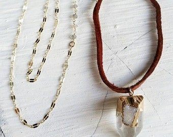 SALE Leather & Chain Gold Dipped Druzy Crystal Point Necklace - leather, druzy, labradorite