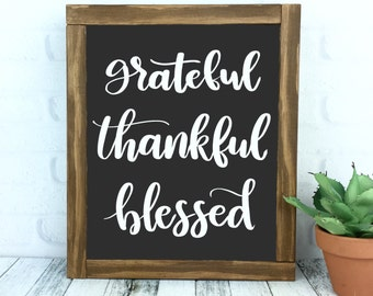 Grateful Thankful Blessed Sign, Framed Wood Rustic Hand Painted Chalkboard Style Home Decor, Handmade Wall Hanging, Black and White Gallery