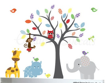 Wall decal tree owl jungle decals mural set