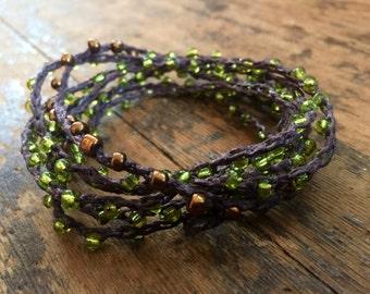 Deep in the Forest: Versatile crocheted necklace / bracelet / belt / headband