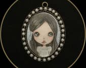 Original art miniature Blythe girl pearls lowbrow