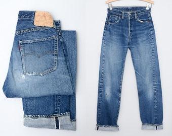 60s Levis Big E 501 Redline S Type Single Stitch Selvedge Indigo Denim Jeans 28 x 33