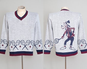 70s Goofy Ski Sweater Tennis Club Disney Knit Winter Sweater