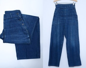 1940s Womens Work Wear Dark Indigo Cotton Denim Side Button Work Jeans