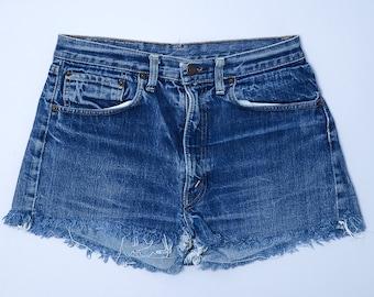 60s Levis BIG E 505 Single Stitch Indigo Denim Black Bar Cut off Jean Shorts W 30