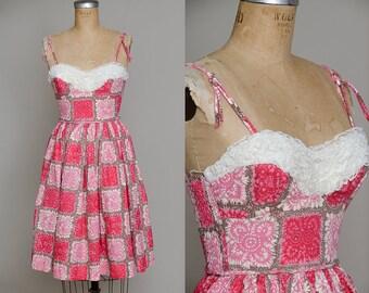 50s Hawaiian Dress Full Skirt Batik Jewel Mandala Print Bright Pink Candy Jones Rockabilly Dress