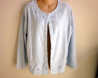 SALE-Soft fleece bed jacket short robe pale blue L
