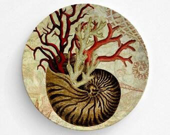Gold Sea Shell Melamine Plate, Melamine Plate, Sea Shell decor, decorative plate, Dinner Plate, Serving Plate