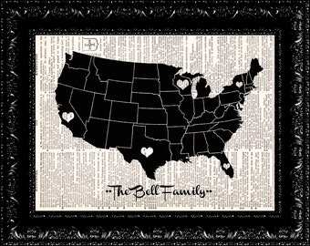 Personalized USA Map, Family Distance Heart Map, Dictionary Print, Up cycled Art, personalized custom family gift
