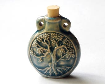 Tree of Life Bottle - 50X43mm Double Sided Tree of Life Raku Bottle Pendant Vessel For Oils, Diffuser, Ashes, Perfume, 1 Piece, (IND3C499)