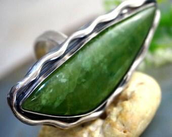 Vesuvianite Ring Idocrase Stone Sterling Silver Jewelry