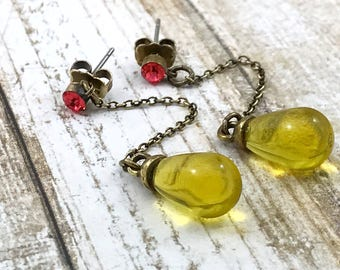 Lemon Glass Drop Earrings, Yellow Glass Coral Rhinestone Dangle Earrings, Pretty Glass Earrings / Spring Drop Earrings /Unique signed QVC