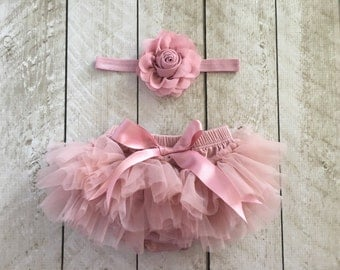 Baby Girl Ruffle Bottom Tutu Bloomer Headband Set in Mauve - Newborn Photo Set - Cake Smash - Diaper Cover - Baby Gift - First Birthday