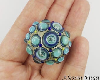 """Handmade focal lampwork glass bead in blue and light turquoise with bubbles, """"Fenice"""" series"""