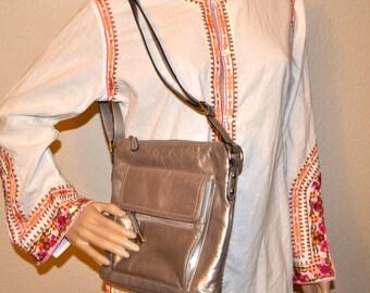 90s vintage designer silver gray leather purse by Giani Bernini  shoulder flap bag unisex bag small travel bag Crossbody designer bag NEW
