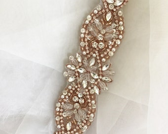 Rose Gold Bridal Sash Rhinestone Applique ,Wedding Belt, Ivory Crystal Wedding Belt Applique