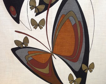 Alfred Shaheen Butterfly Fabric Panel 1960s Designer Vintage Wall Decor or Dress Fabric