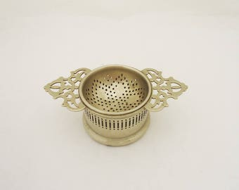 Vintage Silver Plated Tea Strainer and Bowl, Regis Plate Tea Strainer and Bowl