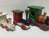 Vintage Toy Train Ornaments ~ 3 Colorful Kitschy Toy Ornaments
