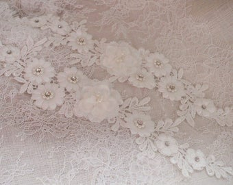 2pcs off white lace applique, 3D heavy bead lace applique with rose, 3D flowers lace applique, bridal lace appliques, bridal headpiece